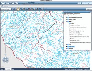 New Jersey Department of Environmental Protection GeoWeb, Search of Streams